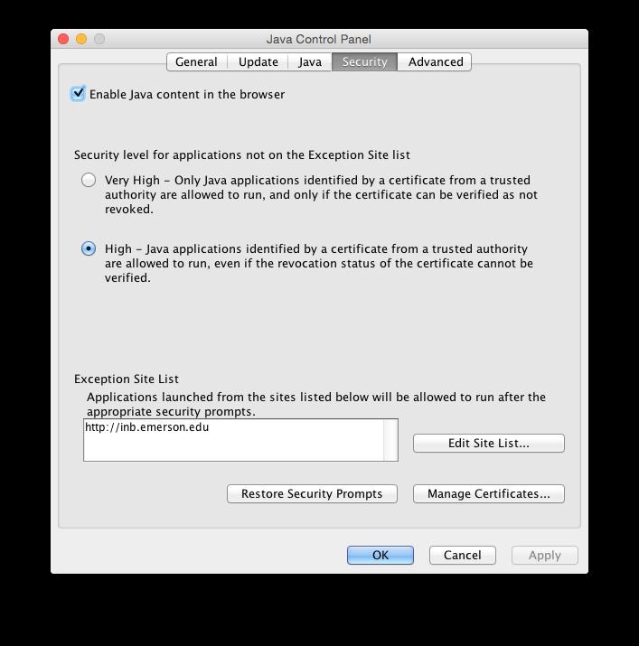 Java Site Exception for INB