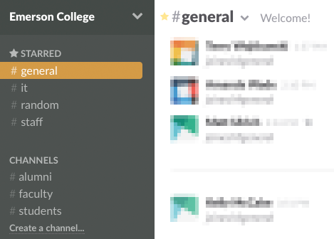 Initial Slack channels