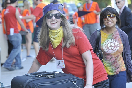 Students moving in during orientation