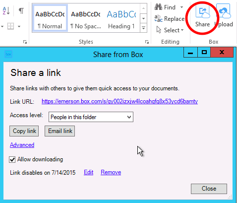Share an Office File on Box