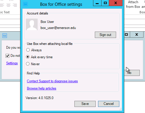 Change Outlook Settings in Box