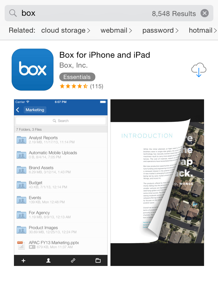 Box in the App Store