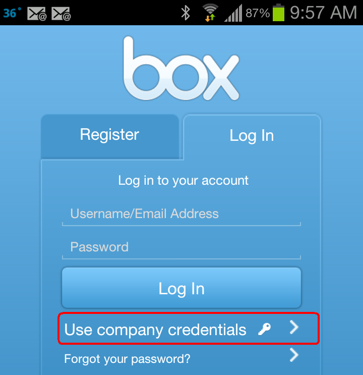 Log into Box Mobile (Android)