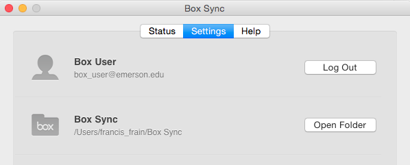 Box Sync Settings