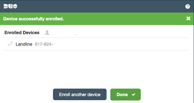Device successfully enrolled.