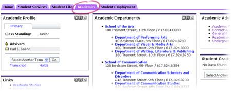 Academics Tab in eCommon