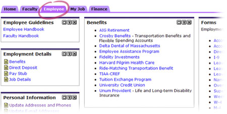 Employee Tab - Links to employee forms and benefits