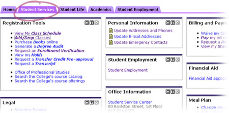 Student Services Tab in eCommon