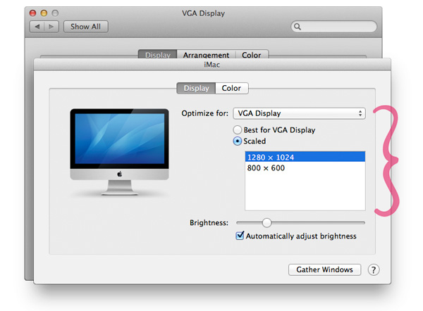 iMac Displays preferences display resolution