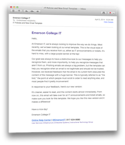 Emerson IT's New Email Template